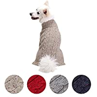 Blueberry Pet Nep Yarn Wool Blend Cable Knit Pullover Turtleneck Dog Jumper in Ashy Beige, Back Length 25cm, Pack of 1 Clothes for Dogs