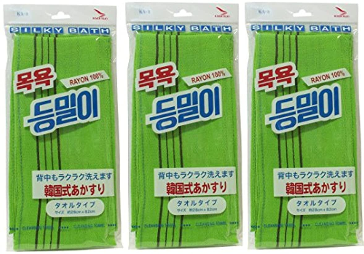 段落ジョガートランスペアレント韓国発 韓国式あかすり タオルタイプ(KA-3)グリーン×3個セット