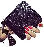 (エリンコ モア) erinco more 二つ折り 財布 コンパクト 小銭入れ カード入れ クロコ調 タッセル 小さい財布 ミニ財布 (ブラック)