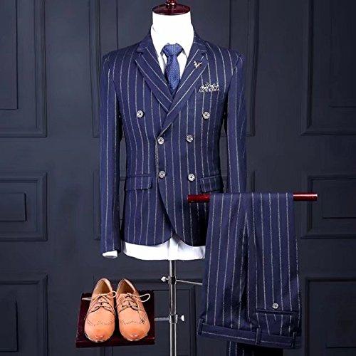 【ノーブランド品】 【ラメ入り】ダブルブレスト ピンストライプ スリーピース 2つボタンスーツ ビジネススーツ カジュアル メンズスーツ フォーマル スリムスーツ ブルー 2XL