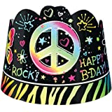 (8 Pieces) - Amscan Awesome Hair Accessory, Neon Doodle Tiaras, 8 pieces