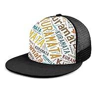 野球帽 キャップ Kuramata ?又 - 日本の姓 メッシュキャップ ヒップホップ 日よけ帽子 紫外線対策 調節可能 男女兼用 One Size Black