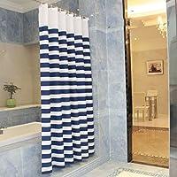 $シャワーカーテン 浴室シャワーカーテン、より厚い防水性カビポリエステルカーテンを吊るす浴室カーテンはフックを送る ( 色 : 青 , サイズ さいず : Width 260*high 180/CM )
