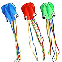 BeMax Pack 3 colors Beautiful Kites Soft Octopus Large Size Kite easy flyer - Blue Green Red with Long RainBow Tails [並行輸入品]