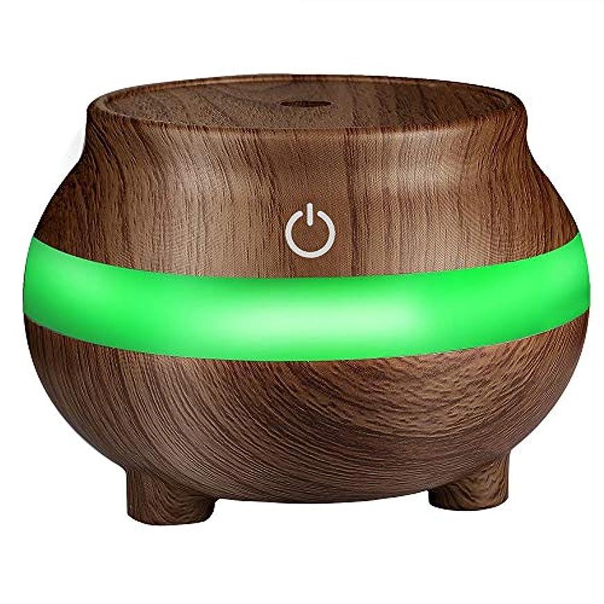 除去悲しみ豊富なミニUSB加湿器 アロマディフューザー 超音波式 アロマ エッセンシャルオイルディフューザー 木目調 卓上加湿器 7色変換ムードライト 300ml 空気清浄