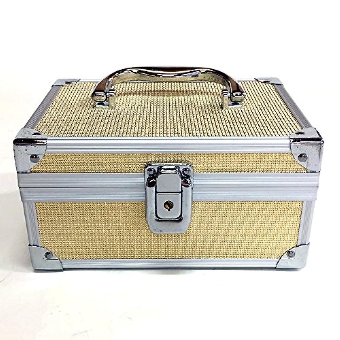 サンダーオークフリースイケナガ(IKENAGA) メイクボックス ミニ D2501 [ゴールドエンボス] 化粧品収納 鏡付き 工具箱 ツールボックス 小物入れ メイクポーチ