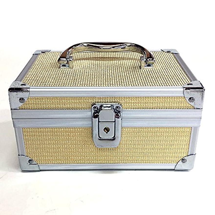 起業家間接的聴衆イケナガ(IKENAGA) メイクボックス ミニ D2501 [ゴールドエンボス] 化粧品収納 鏡付き 工具箱 ツールボックス 小物入れ メイクポーチ