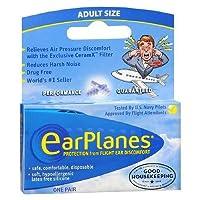 海外直送品Earplanes Earplanes Earplugs Ear Protection From Flight Air And Noise Sound, 1 pair (Pack of 2)