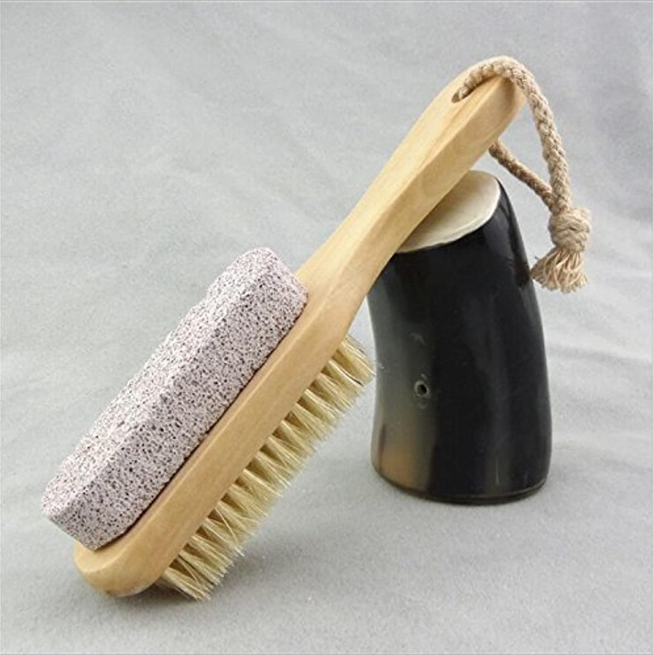 Bigmind 足軽石の足爪ブラシ 角質除去 天然毛 足爪 かかと削り フット用品 ブラシフットケア かかとキレイフットブラシ