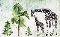 Ansyny カスタム3D写真壁紙リビングルーム壁画緑の木とキリン水の写真背景壁不織布壁紙用壁-130X100CM