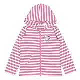 アスナロ(トップス カーディガン・パーカ) パーカー 長袖 キッズ 子供 女の子 UV加工 紫外線軽減 ボーダー120 白-ピンク