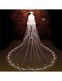 シュウクラブ- 花嫁のベール韓国のレースのレースのダイヤモンドの花ベールの結婚式の結婚式のベール