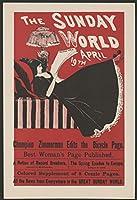 """1896フォトのニューヨーク日曜日世界4月19日。ポスターanは女性の図、ロングブラックドレスを着て、Lying on a chaise、読み""""の日曜日世界。」"""