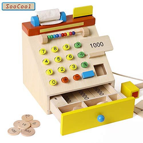 はじめての店員さんごっこ 知育玩具 木製レジスター 積み木 組み立て 木製おもちゃ お店屋さん 木製ツールボックス プレゼント ギフト