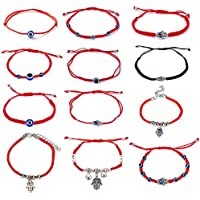 Kelistom 12 Pieces Red Kabbalah Evil Eye Hamsa Hand Charm Braided String Bracelets for Women Men Boys Girls Friendship Protection Amulet