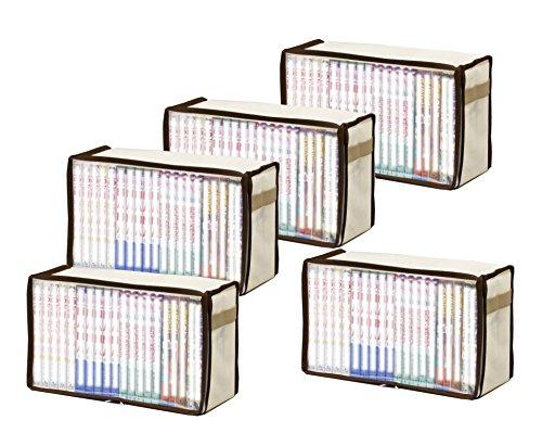 新書版サイズ コミック本収納ケース 5枚組 ブラウン 厚手不織布製 609-02