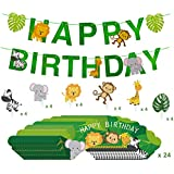 Animal Birthday Party Supplies Jungle Safari Decorations Banner with Birthday Cupcake Toppers Cupcake Wrappers Pack of 65 TD035