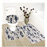 3pc Bath Rug Set Printed Soft Anti-Slip Bathroom Accessories Rug Decor New (B1350)