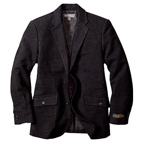 (エディー・バウアー) Eddie Bauer ヘリンボーンモールスキン2ボタンブレザー(トリップジップ(TM)ポケット付き)(ブラック M)