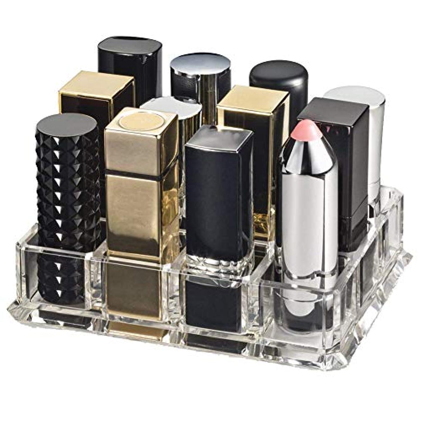 ペフ悪党ゴルフhamulekfae-化粧品綺麗クリアアクリル口紅オーガナイザー12スペース化粧品収納ボックスケース - 透明