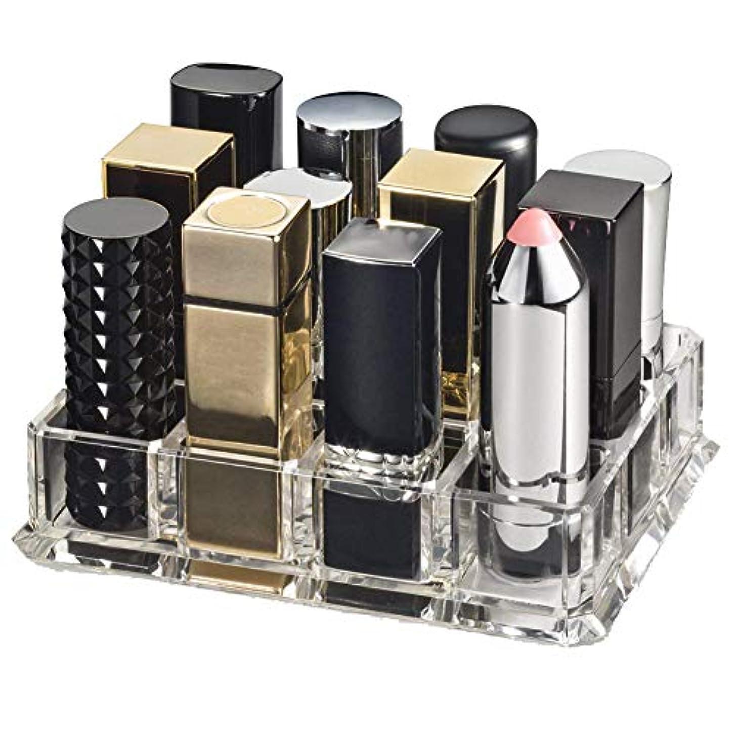 引き潮日帰り旅行に巻き取りhamulekfae-化粧品綺麗クリアアクリル口紅オーガナイザー12スペース化粧品収納ボックスケース - 透明