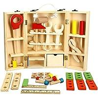 elegantstunning 木製のツールボックスセット 子供の木製のツールボックスセットの建設おもちゃの木製のおもちゃ子供のふり遊び子供のおもちゃのセット