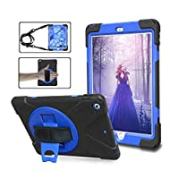 New iPad 2017 Cover Case, DIGIC Hard 360 Degree Rotation Kickstand Adjustable Hand Strap Shoulder Strap Shock Absorption Tablet Carrying Case Shell iPadケース for Apple New iPad 9.7 2017, dark blue/black