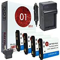4x dot-01ブランド1200mAh交換用Kodak KLIC - 7006バッテリーと充電器for Kodak m23デジタルカメラとKodak klic7006