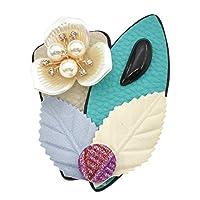 (ライチ)Lychee ファッション ピン ブローチ レザー リーフ パール アクセサリー 魅力的 贈り物