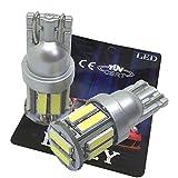 LIMEY 最新!5W級 爆光 T10 LED バルブ ホワイト 白 ポジション ウエッジ 映り込みしないシルバータイプ SMD7020 10連×2SMD 20チップ搭載 6000K ナンバー ルームランプ 取説&保証書付 2個入 【ベース:シルバー】 - 7020SV2