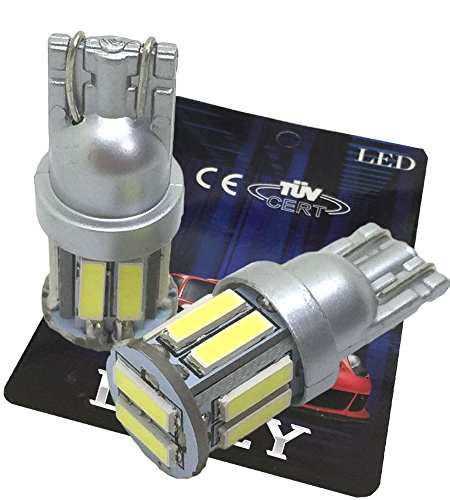 (ライミー) LIMEY 最新! 5W級 爆光 T10 LED バルブ ホワイト 白 ポジション ウエッジ SMD7020 10連×2SMD 20チップ搭載 6000K 映り込みしないシルバータイプ ナンバー ルームランプ 取説&保証書付 2個入 【ベース:シルバー】 L-T10W7020SL2