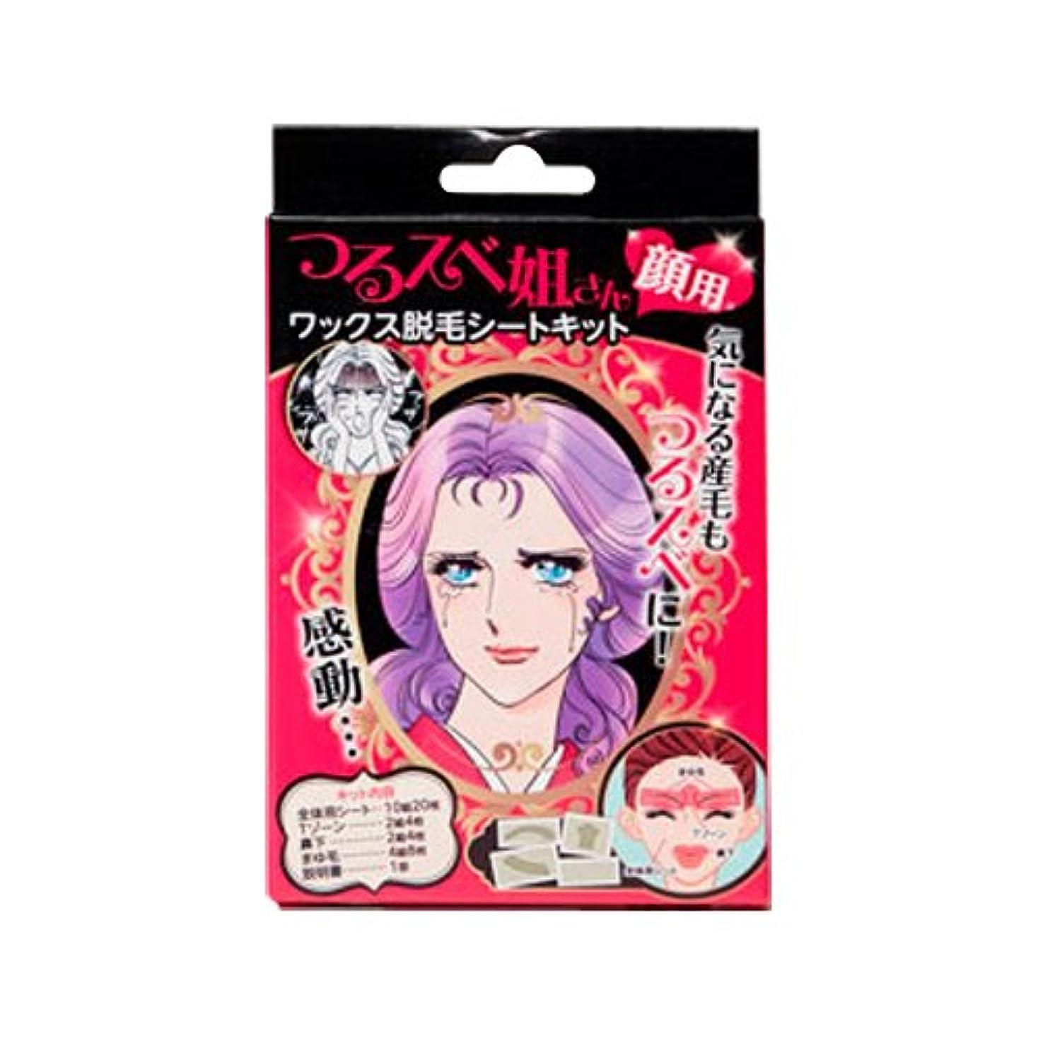 ファッション麦芽ピルファーつるスベ姐さん 顔用 ワックス脱毛シートキット (1キット)