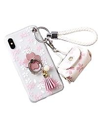 iPhone X ケース 3D花デザイン かわいい 女の子 花のミニバック スタンド ペンダント ストラップ付き iPhone X カバー