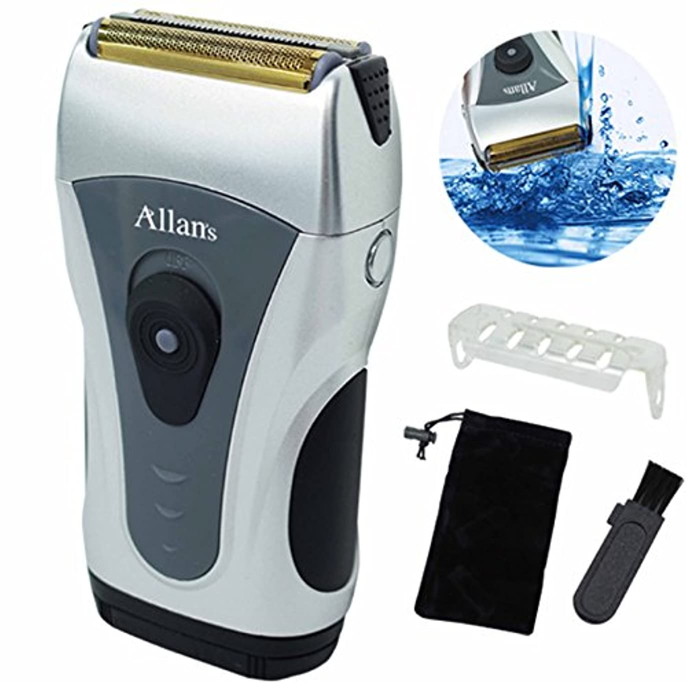 イチゴ写真を撮る降雨Allans 携帯 電池 式 電動 髭剃り 水洗い ウォッシャブル メンズ シェーバー コンパクト MEBM-29