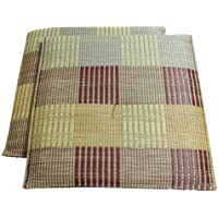 イケヒコ い草 座布団 国産 織込千鳥 『ラウム 2枚組』 ブラウン 約55×55cm×2P