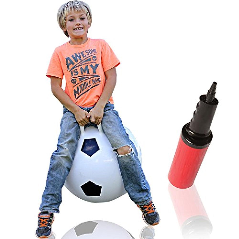 Waliki Toys Hopper Ball for Kids Ages 3 – 6 ( Hippityホップホッピングボール、ボール、Bouncy Ball withハンドル、Sit & Bounce、カンガルーBouncer、Jumpingボール、18インチ、サッカー、ポンプ付属