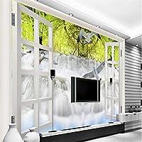 Wuyyii 大型カスタム壁紙美しい3D屋外滝風景テレビ背景ビニールフローリング接着剤-200X140Cm