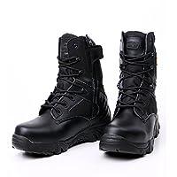 [Facecozy] フェイスコジー 本革 軍用靴 砂漠靴 コンバットブーツ ミリタリーブーツ ジャングルブーツ 通気性 耐磨耗 ブーツ (26CM, ブラック)