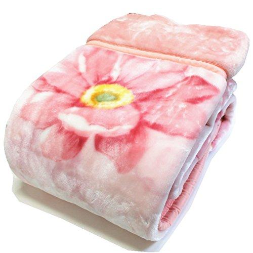 京都西川 2970219 2枚合せマイヤー毛布シングル 2CM5202 (ピンク)
