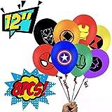 8ピース アベンジャーズ スーパーヒーローエンブレム 12インチ パーティーバルーンパック - 大きなラテックスバルーン 子供用 ヒーローパーティーデコレーション