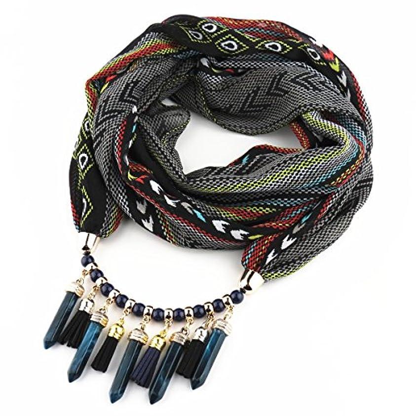 信号製品エクステントレディース?ショール - 女性のスカーフ2018カラフルなプリントシフォンラウンドネックアクリルネックレスペンダントホリデーギフト170cmx47cm 家の装飾 ( Color : Black )