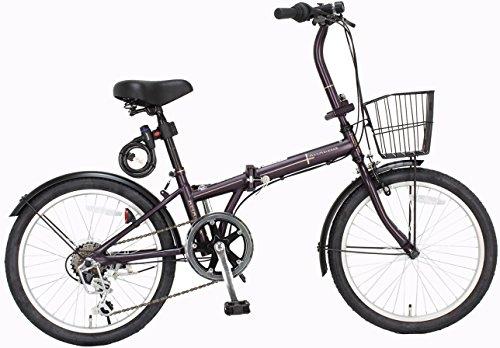 【Amazon.co.jp限定】JEFFERYS(ジェフリーズ) 折りたたみ自転車 20インチ AMADEUS マットバイオレッド シマノ6段変速 前後泥除け/カゴ/LEDライト/ワイヤーロック標準装備