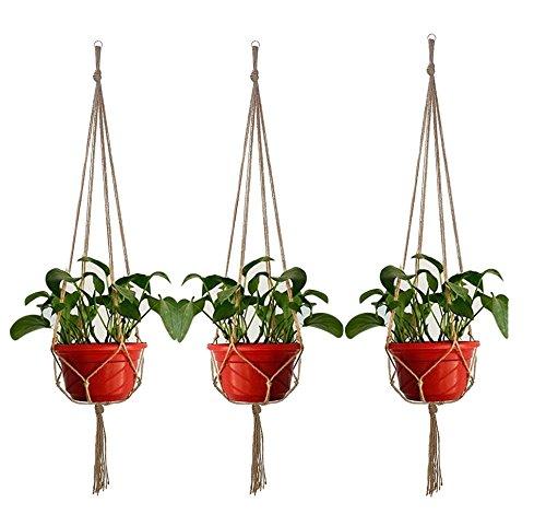 KUWAN®鉢 吊るす マクラメ 麻縄 植木鉢 植物ハンガーネット  屋内屋外植物ホルダ 3PCS
