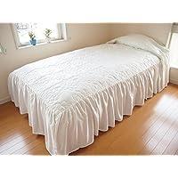 パリス?ベッドスプレッド(ベッドカバー) シングル(SL) 幅110cm×長さ280cm×高さ45cm アイボリー