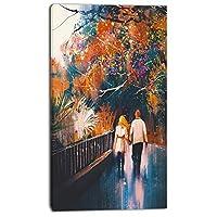 Designart PT6198-20-40 Couple Walking Holding Hands Landscape Canvas Art Print Yellow 20x40 [並行輸入品]