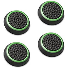 Fosmon Silicone Thumb Stick Analog Controller Grip Caps (4 Pack/2 Pairs) for Xbox One, Xbox One X, Xbox 360, PS4, PS3, Wii U/Wii Nunchuk (Black/Green)