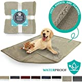 PetAmi Premium Waterproof Soft Sherpa Pet Blanket by Cozy Comfortable Plush Lightweight Microfiber 100% Waterproof (50 x 40 Taupe/Taupe Sherpa)