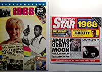 1968 Birthday Gifts Pack - 1968 DVD Film , 1968 Chart Hits CD and 1968 Birthday Card