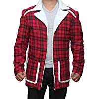 Gem Linens Deadpool Ryan Reynolds Red Shearling Fur Jacket Coat for Mens and Womens