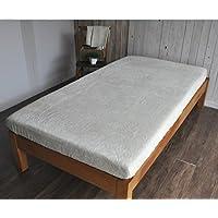ボックスシーツ 綿パイル シール織り ベージュ 日本製 (セミダブル)